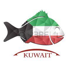 Logotipo de pescado hecho de la bandera de Kuwait. Clipart, Asia, Movie Posters, Movies, Logos, So Done, Illustrations, Films, Film Poster