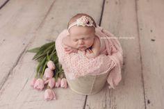 Beautiful Newborn Baby Girl... pink flowers. www.maxineevansphotography.com