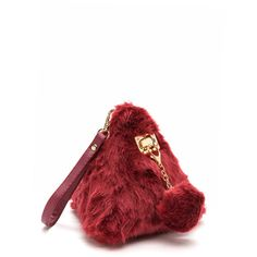 RED All Fur It Triangular Pom-Pom Clutch ($25) ❤ liked on Polyvore featuring bags, handbags, clutches, red, white clutches, fur handbags, faux fur purse, triangle purse and white purse