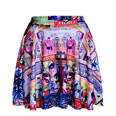 Multicolor Cartoon Superman Fashion Skater Skirt 15SK00023 ($12) ❤ liked on Polyvore featuring skirts, multicolor, patterned skater skirt, comic skirt, multicolor skirt, print comic book and multi colored skirt