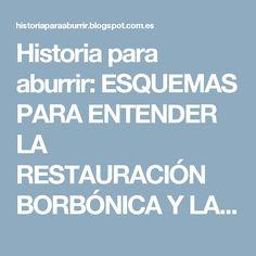 Historia para aburrir: ESQUEMAS PARA ENTENDER LA RESTAURACIÓN BORBÓNICA Y LA CRISIS DE LA RESTAURACIÓN BORBÓNICA