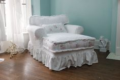 custom order chaise lounge shabby chic slipcovered white roses chenille fabric brush fringe trim