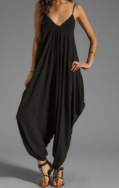 Shop Deep V Neck Loose Jumpsuit online. SheIn offers Deep V Neck Loose Jumpsuit & more to fit your fashionable needs. Black Harem Pants, Black Jumpsuit, Printed Jumpsuit, Cotton Jumpsuit, Jumpsuit Dress, Shirt Dress, Long Jumpsuits, Jumpsuits For Women, Rompers Women