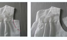 If you are working with a knit fabric or don't want two layers, you can omit the facing piece and finish the neckline with bias binding. Leave the bottom of the front and back yokes Vintage Sewing Patterns, Clothing Patterns, Dress Patterns, Dress Tutorials, Sewing Tutorials, Sewing Ideas, Cotton Nighties, Nightgown Pattern, Sewing Circles