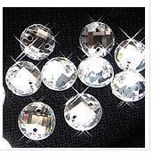 Envío gratuito. Venta al por mayor, claro 14mm bling ronda agujero 2 espalda plana de cristal de coser