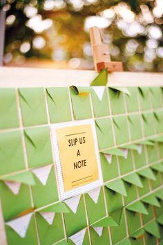 Cute guest book idea, mini envelopes and notes!