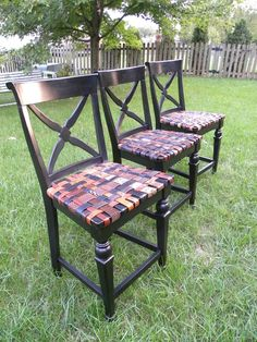 Custom Barstool With Seat From Woven Recycled Leather