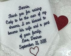 Embroidered Wedding Handkerchiefs, Fast Turnaround by elegantmonogramming Last Minute Wedding Gifts, Wedding Gifts For Groom, Wedding Ties, Personalized Wedding Gifts, Bride Gifts, Embroidered Gifts, Wedding Handkerchief, Father Of The Bride, Groomsman Gifts