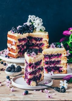 This vegan Lemon Blueberry Cake is soft, moist, and totally delicious! It is layered with a creamy lemon frosting and a sweet blueberry filling, making it a perfect dessert for Easter or anytime you want a fruity layer cake! Vegan Lemon Cake, Cake Vegan, Vegan Cheesecake, Vegan Sweets, Vegan Desserts, Dessert Recipes, Baking Recipes, Vegan Recipes, Cake Recipes With Oil