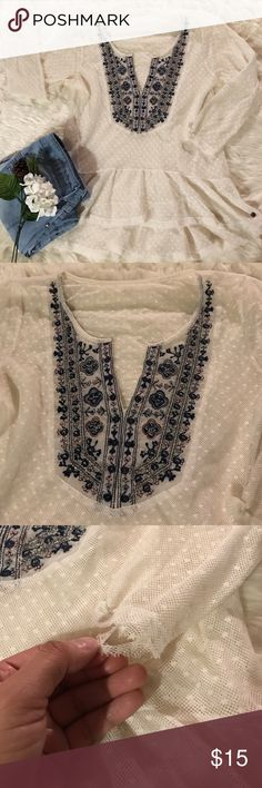 """Abercrombie & Fitch Peplum Blouse Good condition (minor, unnoticeable snag on left wrist--see third picture). Sheer with polka dot detailing. Beautiful be-jeweled design. Size tag cut out, but my friend says it's a small. Measurements are 14"""" across the busy and 17.5"""" from shoulder to shoulder. Bundle and save! 💕😊 Abercrombie & Fitch Tops Blouses"""