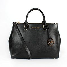 Michael Kors Jet Set Travel Large Dressy Tote Handbag 30T4GTVS7A-001. Gorgeous & durable Michael Kors Saffiano leather with brilliant gold tone hardware. Measures approx. 13 inch (W top) x 10 inch (H) x 5 inch (D); gusseted sides. Double handle with 5 inch drop; one adjustable & detachable shoulder leather strap. Two zipper outer pockets; spacious main interior with magnetic tab closure. Signature lined interior with multi pockets; signature sleeper bag included.