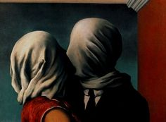 """The Lovers, 1928, René Magritte  Oil on canvas 21 3/8 x 28 7/8"""" (54 x 73.4 cm)  Museum of Modern Art, New York City"""