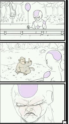 The real reason Frieza hates Saiyans and calls them monkeys! Dbz Memes, Funny Memes, Funny Dragon, Dragon Ball Gt, Funny Art, Funny Comics, Character Design, Comedy Anime, Anime Meme