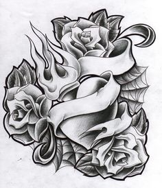 These 49 rose tattoo designs and ideas are really amazing. Find your inspiration with our gallery of rose tattoos on shoulder, sleeve, arm or hand. Heart Tattoo Designs, Skull Tattoo Design, Tattoo Design Drawings, Tattoo Sketches, Skull Rose Tattoos, Body Art Tattoos, Cool Tattoos, Tattoo Art, Rose Zeichnung Tattoo