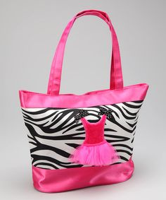 Take a look at this Black & White Zebra Dance Tote by Popatu by Posh on #zulily today!
