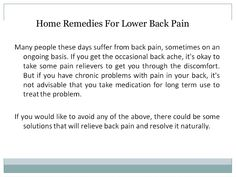 Home Remedies For Lower Back Pain.