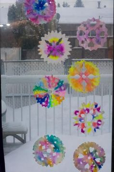 Easy Watercolor Coffee Filter Snowflakes for Kids! All you need it coffee filters, water, scissors and markers!