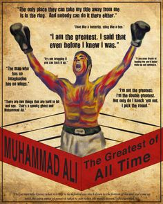 "One of the people who inspire me in my daily life is the Greatest Muhammad Ali. Ali was well known for his unorthodox fighting style, which he described as ""floating like a butterfly, stinging like a bee"", and employing techniques such as the Ali Shuffle and the rope-a-dope. Ali had brought beauty and grace to the most uncompromising of sports and through the wonderful excesses of skill and character, he had become the most famous athlete in the world. Love him"