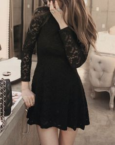 SheIn offers Black Round Neck Long Sleeve Lace Dress & more to fit your fashionable needs. Black Dress With Sleeves, Lace Dress Black, Lace Sleeves, Long Sleeve Black Dress, Banquet Dresses, Formal Dresses, Stylish Outfits, Cute Outfits, Dress Outfits