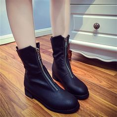 US $17.99 Kwan Women's Shoes Front Zipper Leather Block Heels Ankle Boots Booties Mid Calf