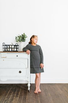 Stripes have never looked more fun! This navy blue and white striped dress is adorable and comfortable. Perfect for school, special events, and any occasion. Navy Blue, Blue And White, Family Picture Outfits, Dress Drawing, Mini Me, Our Girl, Family Pictures, Striped Dress