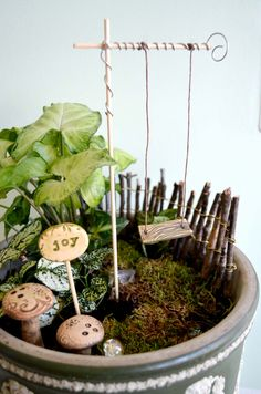 Miniature Garden Swing for Fairies. Even with our limited gardening skills we could do this!