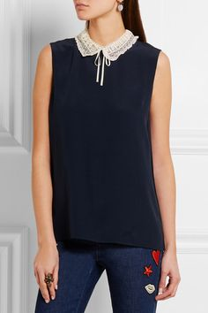 Navy silk-crepe, ecru lace Button fastenings through back 100% silk; trim: 90% cotton, 10% polyamide Dry clean Made in Italy