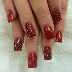 Christmas Red Sparkle Harlequin Nail Bling