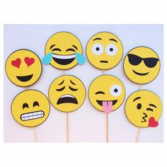 Emoji Photo Booth Props Smiley Face by LetsGetDecorative on Etsy Party Emoji, Photos Booth, Photo Booth Props, Emoji Photo Booth, Diy And Crafts, Crafts For Kids, Smiley Faces, Party Props, Party Time
