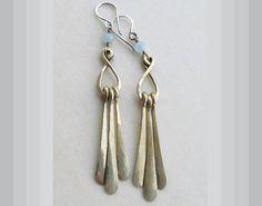 Handcrafted Brass & Aquamarine Dangle Earrings