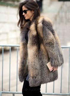 3f14e7f85bc Barbara Martelo in a brown and grey fur coat + black tee + grey skinny  jeans + black suede over-the-knee boots