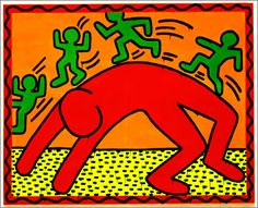 Keith Haring (USA, 1958-1990) - Untitled (Enamel and Dayglo on Metal), 1985