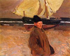 """Vieux Pêcheur Valencien"", huile sur toile de Joaquin Sorolla Y Bastida (1863-1923, Spain)"