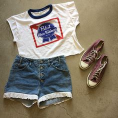 """Pabst Blue Ribbon Crop Top $35+$8(shipping) domestic. Size Medium (18.5""""x20""""). GUESS Denim shorts with ruffle trim W:31. $35+$8(shipping) & Converse USA All Stars women's size 8.5. $42+$12(shipping) domestic. Contact the shop at 415-796-2398 to purchase by phone or PayPal afterlifeboutique@gmail and reference item in post."""