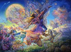 Titania and Oberon 2, Josephine Wall    The inspiration for this image is drawn from the masterly writings of William Shakespeare. Whether he envisioned them the same, I will never know. The King & Queen of fairyland are soaring high with their winged entourage. With the beating of many wings and the heady fragrance of woodland flowers they gather for a moonlit revel.