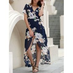 SHARE & Get it FREE   Sexy Women's V-Neck Short Sleeve Floral Printed High Slit DressFor Fashion Lovers only:80,000+ Items·FREE SHIPPING Join Dresslily: Get YOUR $50 NOW!