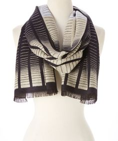 Look what I found on #zulily! White & Black Ombré Stripe Cashmere Scarf #zulilyfinds