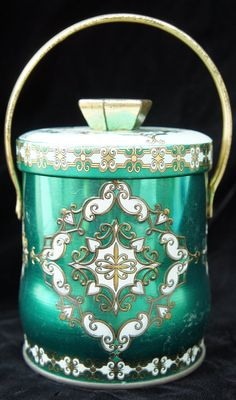 Vintage green tin box with handle by SycamoreVintage on Etsy, $12.99