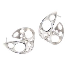 Bubbles Hoop Earrings Sterling Silver Hoops Unique by arosha, $108.00