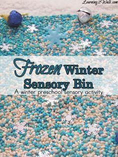 Frozen winter sensory bin- preschool sensory activities from Learning 2 Walk