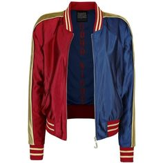 Suicide Squad Varsity Jacket (£60) ❤ liked on Polyvore featuring outerwear, jackets, harley quinn, blue bomber jacket, bomber style jacket, college jacket, varsity style jacket and letterman jackets