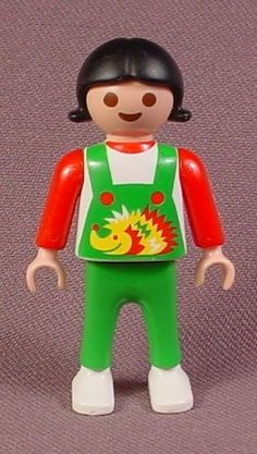 Playmobil Female Girl Child Figure In Green Overalls With A Hedgehog Black Hair 3964 Green Legs Black Hair Female Girl Hedgehog