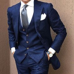 Men's Navy British Fashion Suits Formal Groom Prom 3 pieces Tuxedos All Size Sharp Dressed Man, Well Dressed Men, Mens Fashion Suits, Mens Suits, Mens 3 Piece Suits, Male Fashion, Groom Suits, Club Fashion, Suit Men