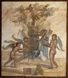 Cupids and Psyche making sacrifices -  Fresco from Pompeii at House of the Bronzes, Pompeii - at the Museum of Naples