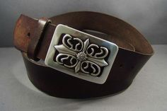 Vintage Brown Leather Belt Cut Out by 4MLeatherDesign on Etsy, $72.00
