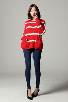 Stripe Back String Knit Sweater