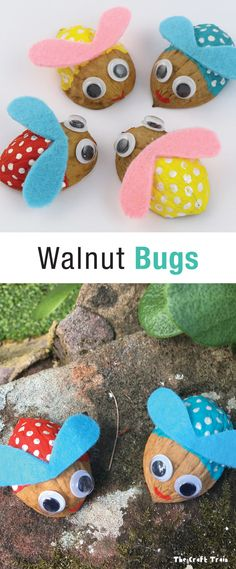 Walnut bugs, an easy bug craft for kids with step by step instructions idea - Diy and crafts interests Arts And Crafts Furniture, Arts And Crafts House, Easy Arts And Crafts, Arts And Crafts Projects, Diy And Crafts, Spring Crafts For Kids, Crafts For Kids To Make, Kids Crafts, Bug Crafts