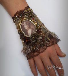 Victorian textile bracelet cuffAntique Renessance by EZDessin