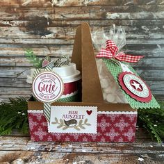 Stampin Up Christmas, Christmas Crafts, Christmas Decorations, Christmas Ideas, Mini Coffee Cups, Stampin Up Weihnachten, Coffee Cards, Coffee To Go, Stamping Up Cards
