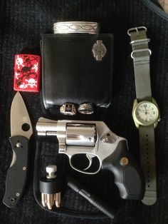 "Zippo (A treasured special gift)     Spyderco persistence (Spyderco knives are amazing)     Harley leather wallet (quality is great)     Burtucci watch ( I have a few of these wonderful watches)     Masonic ring (Raised & earned)     Wedding ring (My Pleasure to wear)     Navajo sterling silver bracelet (have had for over 20 years)     Stream light (tough & bright)     Smith &Wesson mod 637 Gunsmoke ""Wyatt deep cover"""